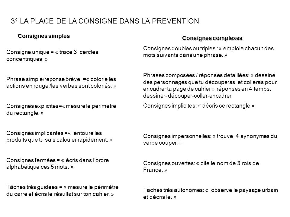 3° LA PLACE DE LA CONSIGNE DANS LA PREVENTION