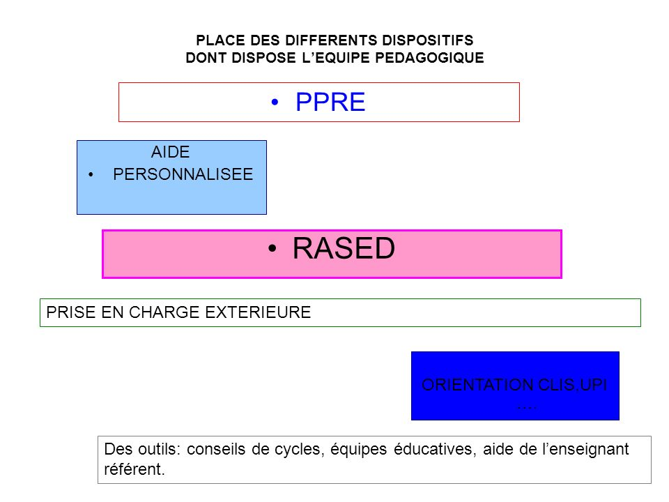 PLACE DES DIFFERENTS DISPOSITIFS DONT DISPOSE L'EQUIPE PEDAGOGIQUE