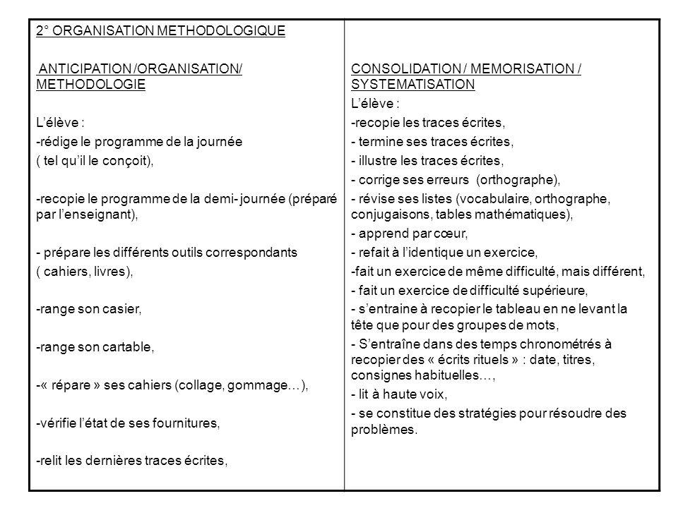 2° ORGANISATION METHODOLOGIQUE