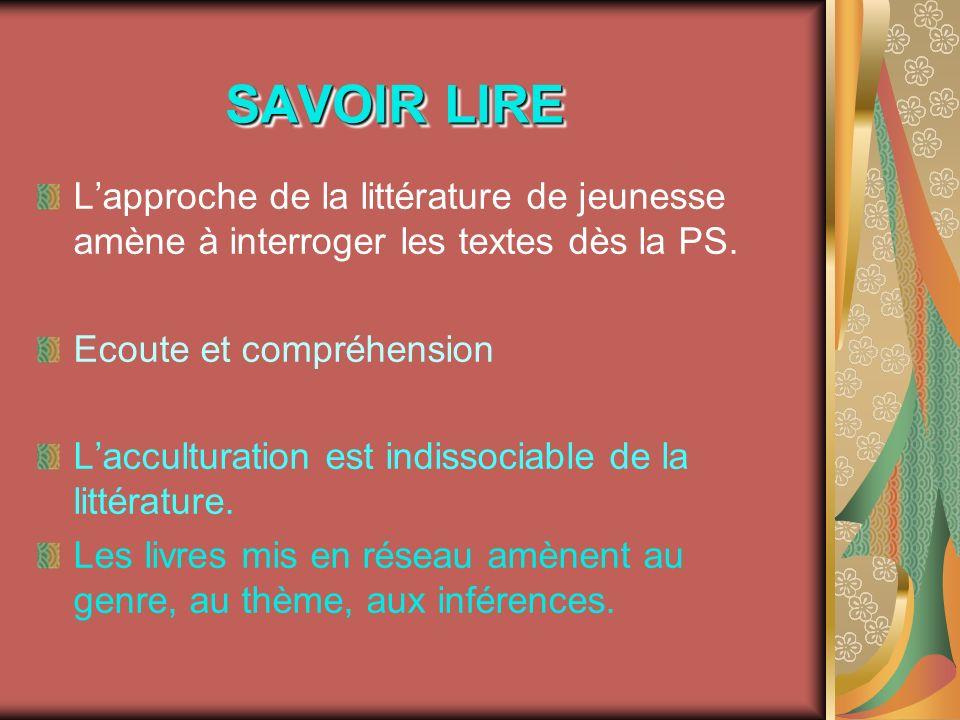 SAVOIR LIRE L'approche de la littérature de jeunesse amène à interroger les textes dès la PS. Ecoute et compréhension.
