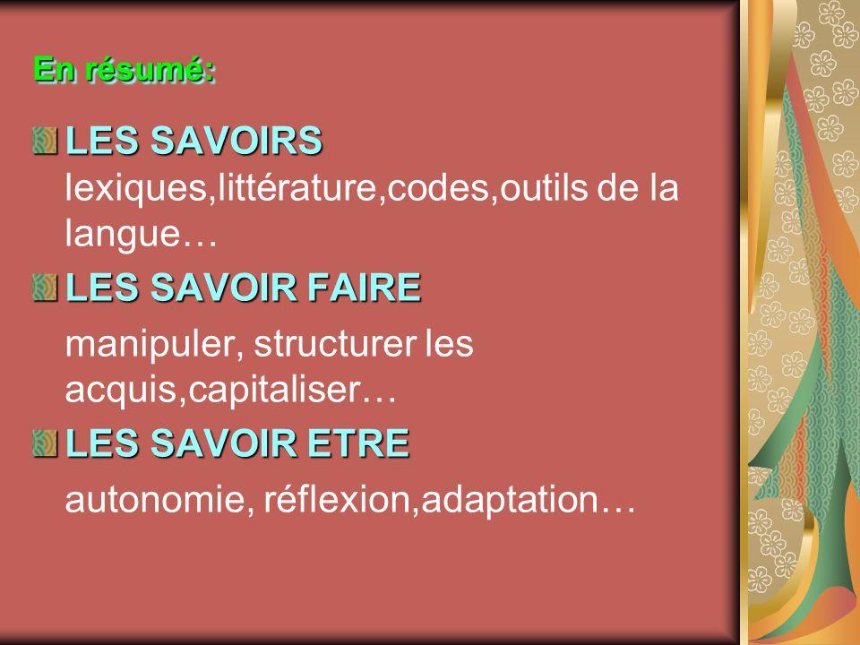LES SAVOIRS lexiques,littérature,codes,outils de la langue…