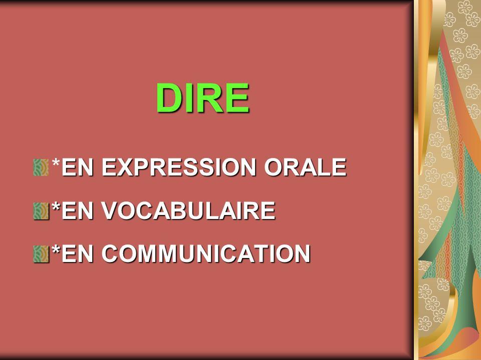 DIRE *EN EXPRESSION ORALE *EN VOCABULAIRE *EN COMMUNICATION