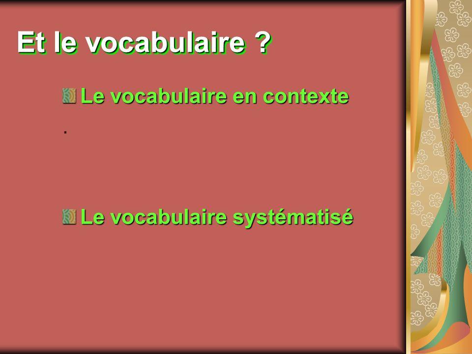 Et le vocabulaire Le vocabulaire en contexte .