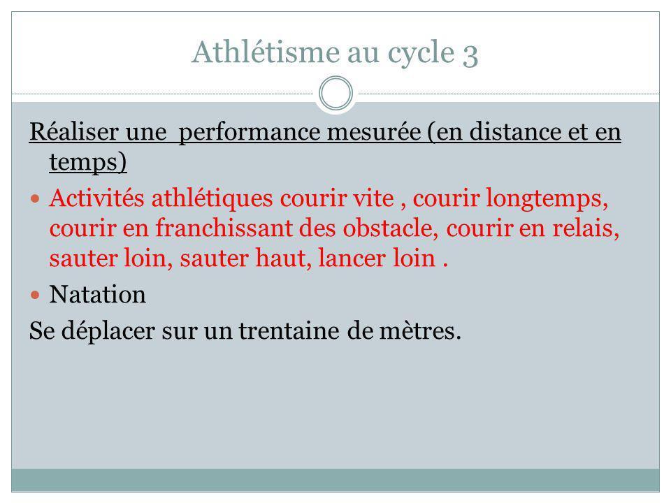 Athlétisme au cycle 3 Réaliser une performance mesurée (en distance et en temps)