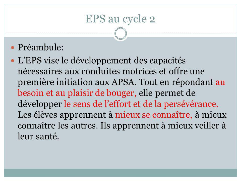 EPS au cycle 2 Préambule: