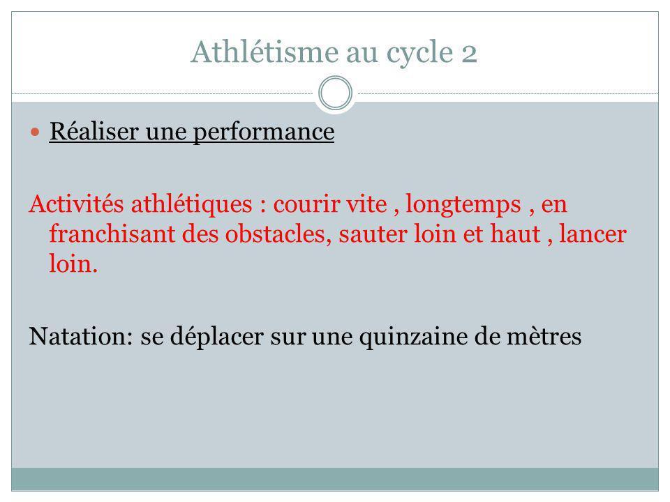 Athlétisme au cycle 2 Réaliser une performance