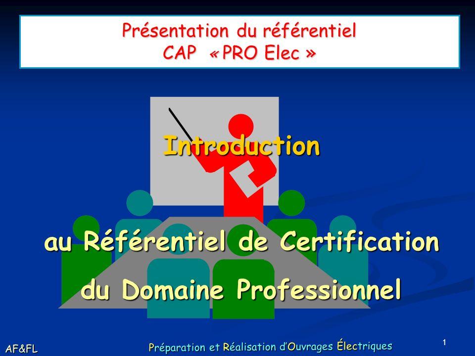 Présentation du référentiel CAP « PRO Elec »