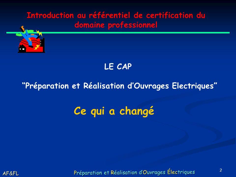 Introduction au référentiel de certification du domaine professionnel. LE CAP. Préparation et Réalisation d'Ouvrages Electriques