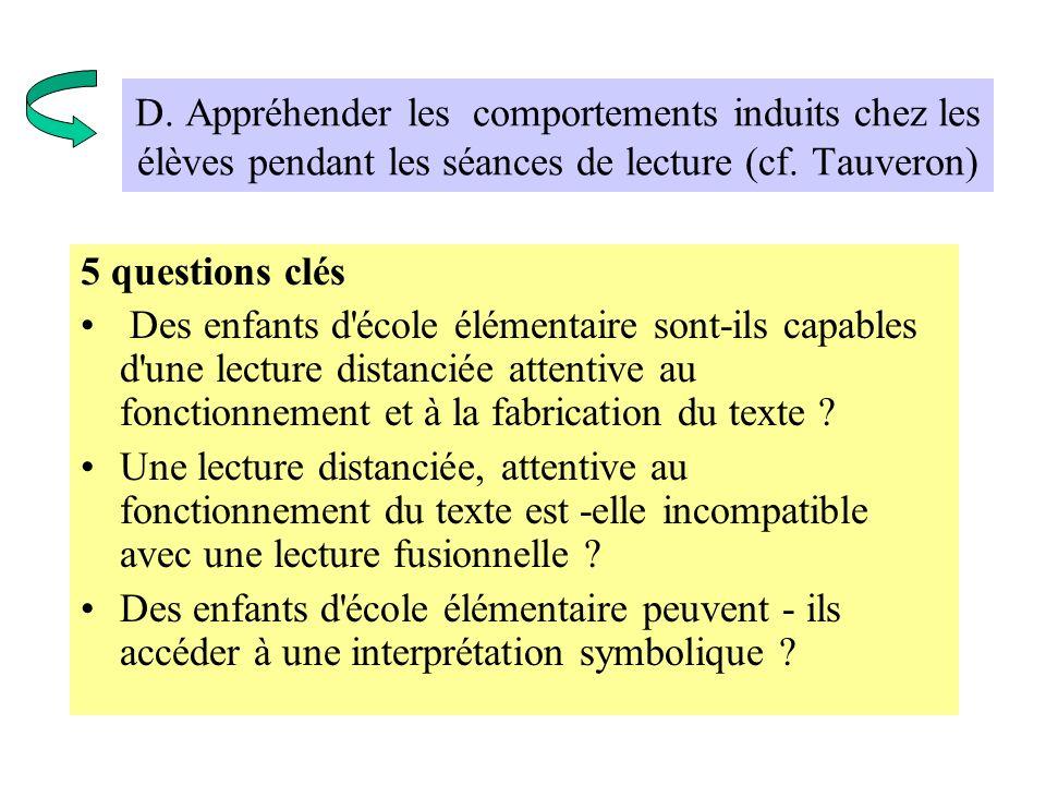 D. Appréhender les comportements induits chez les élèves pendant les séances de lecture (cf. Tauveron)
