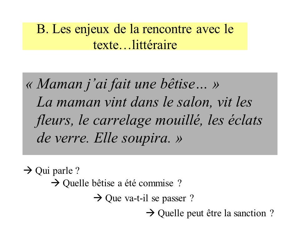 B. Les enjeux de la rencontre avec le texte…littéraire