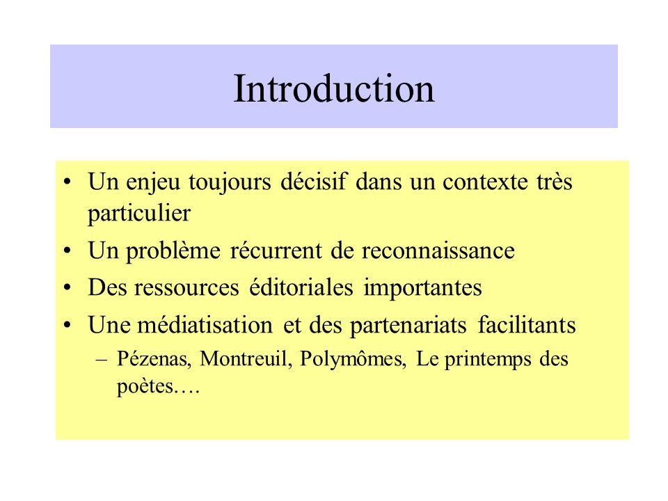 Introduction Un enjeu toujours décisif dans un contexte très particulier. Un problème récurrent de reconnaissance.