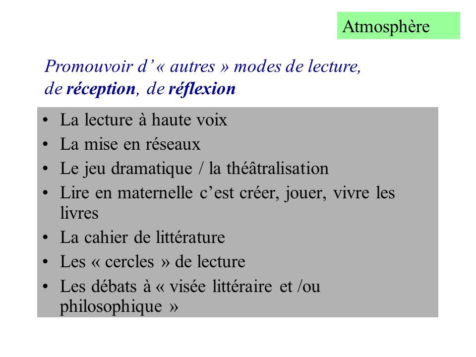 Atmosphère Promouvoir d' « autres » modes de lecture, de réception, de réflexion. La lecture à haute voix.
