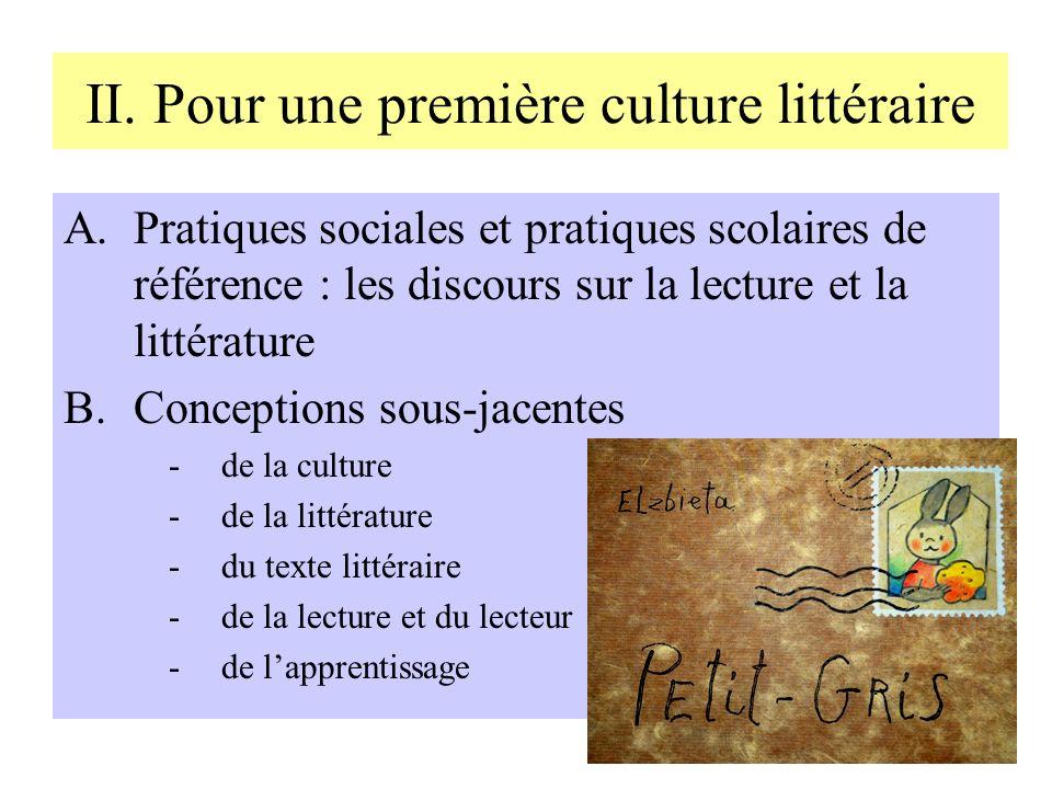 II. Pour une première culture littéraire