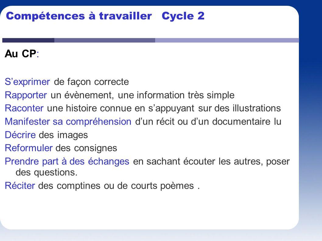 Compétences à travailler Cycle 2