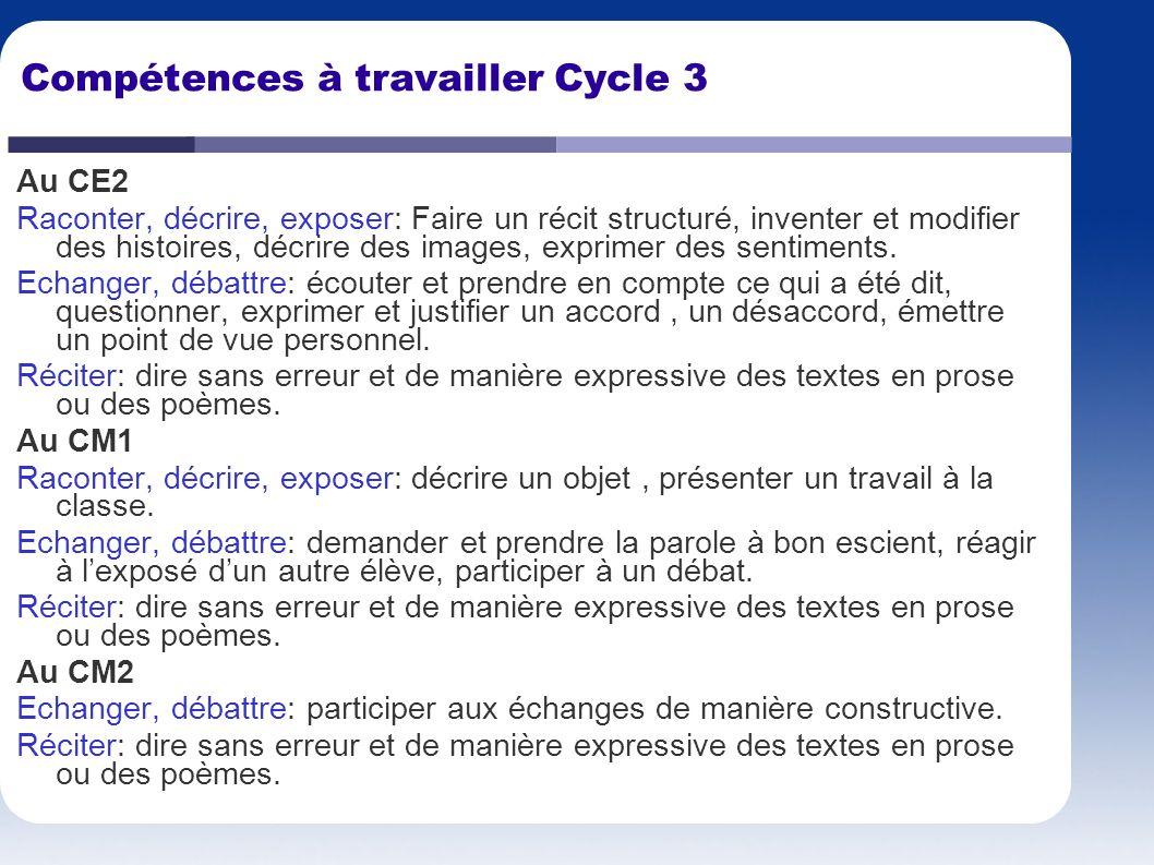 Compétences à travailler Cycle 3