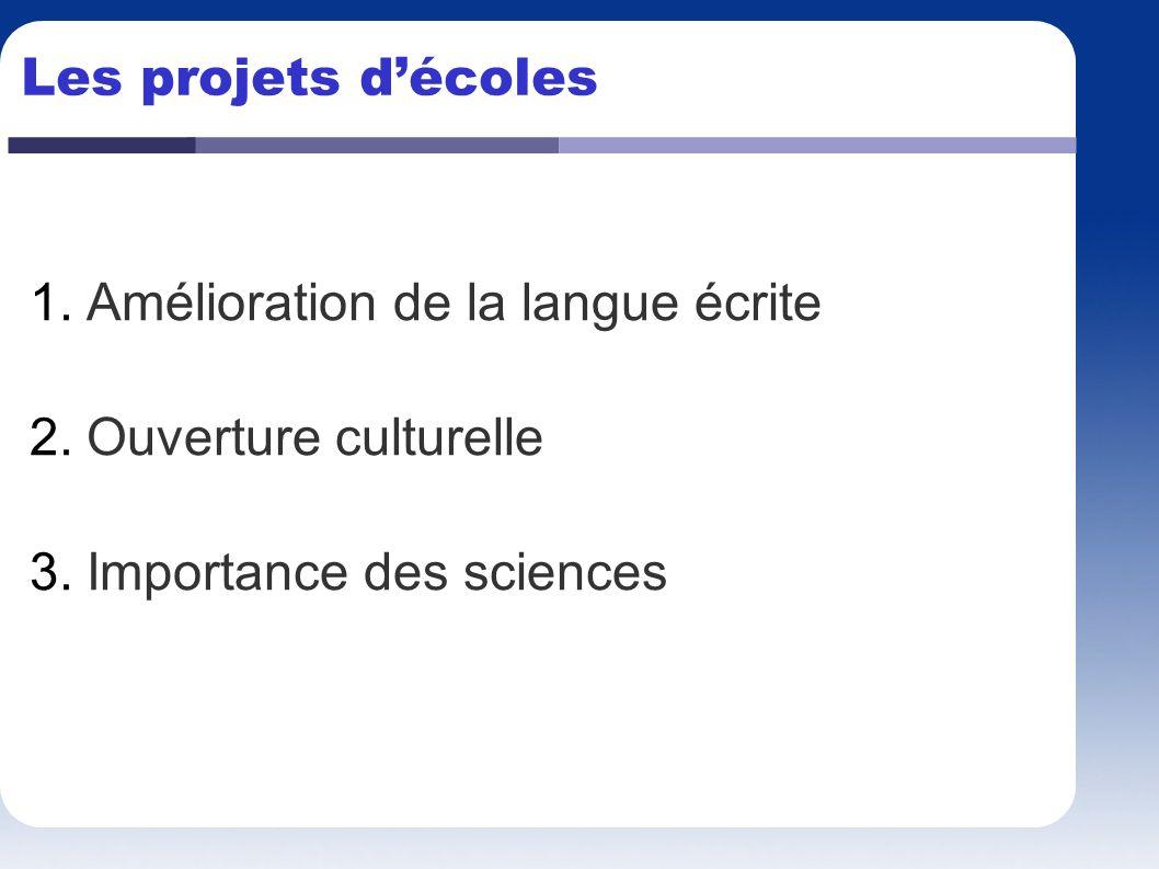 Les projets d'écoles Amélioration de la langue écrite Ouverture culturelle Importance des sciences