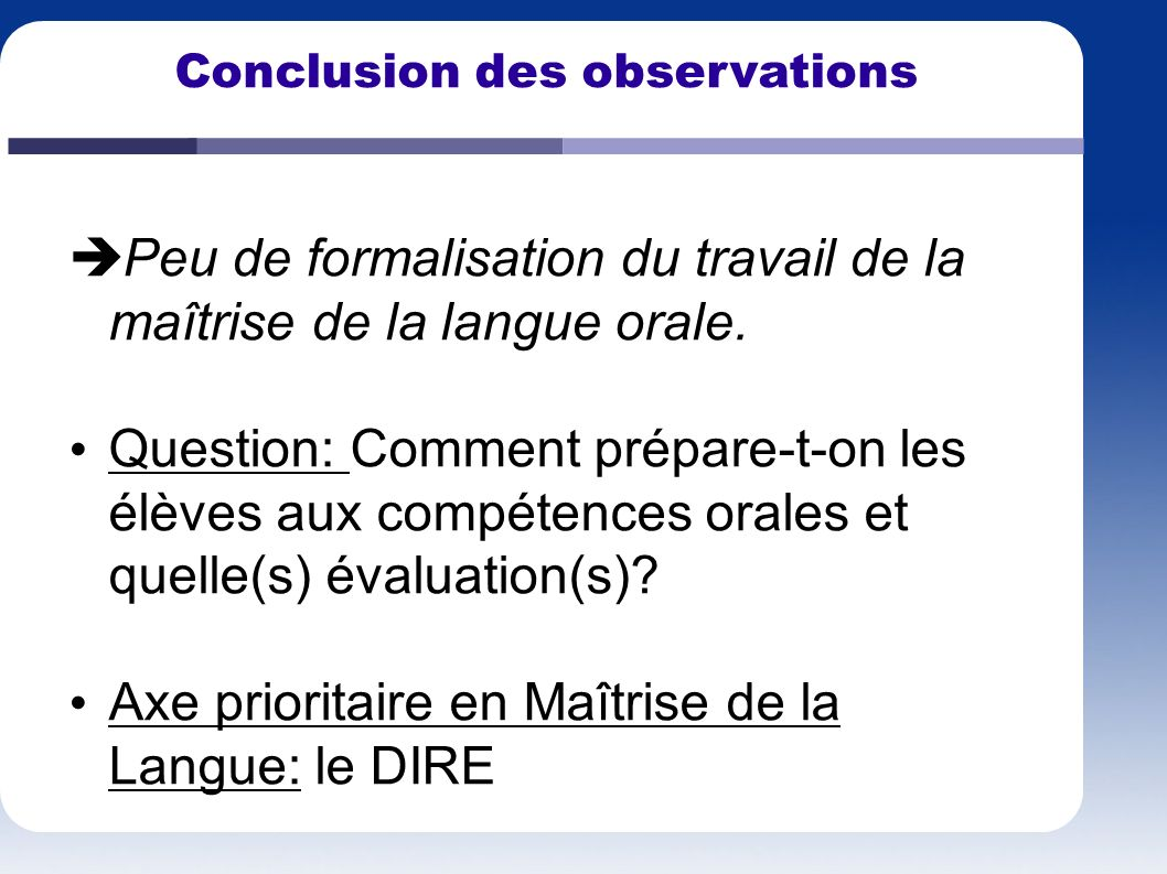 Conclusion des observations