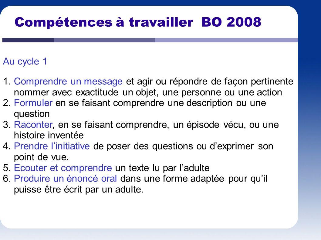 Compétences à travailler BO 2008