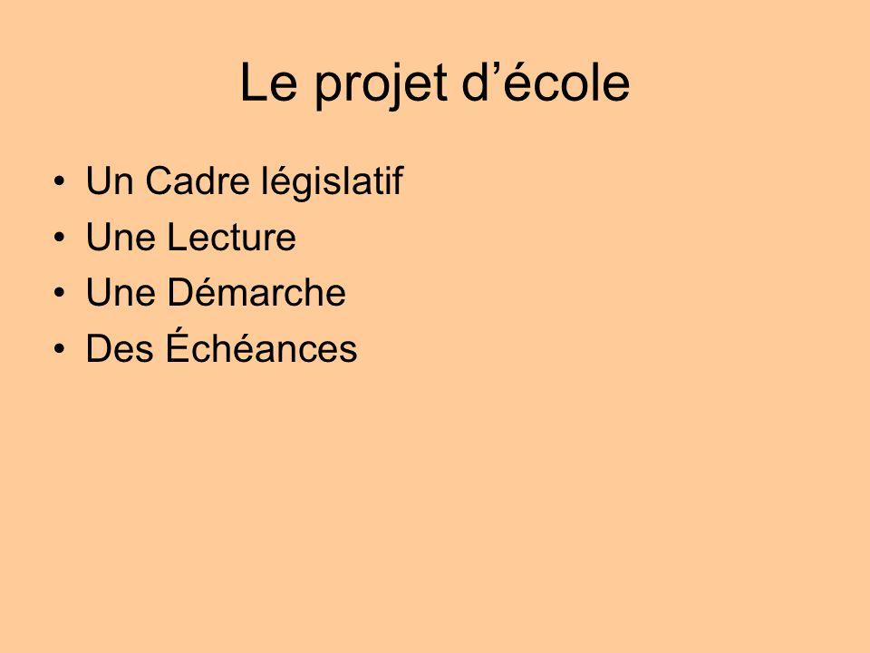Le projet d'école Un Cadre législatif Une Lecture Une Démarche