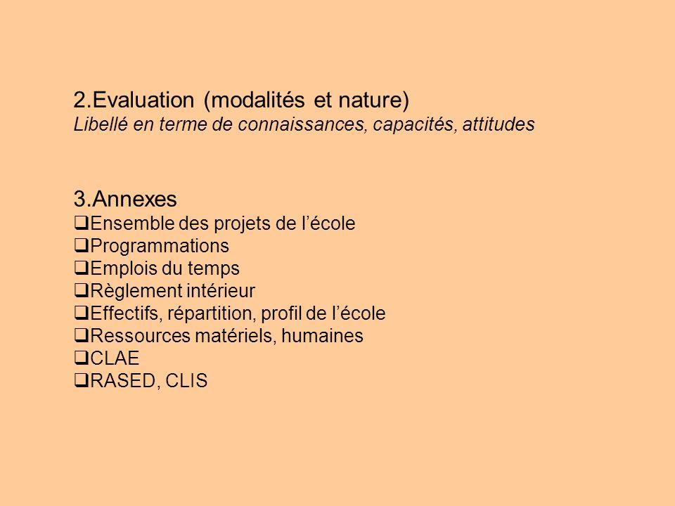 2.Evaluation (modalités et nature)