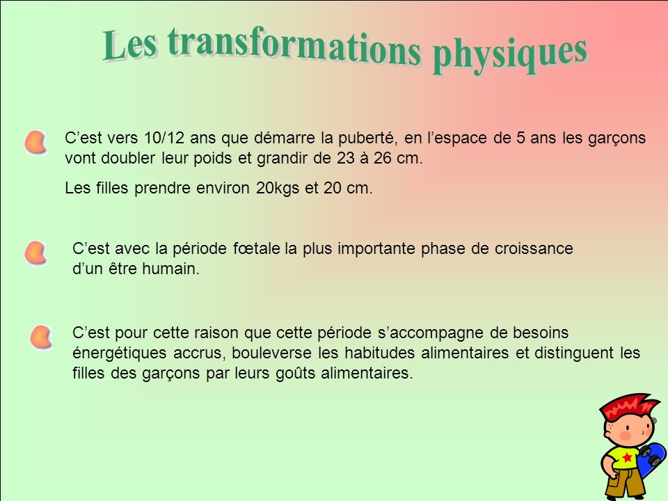 Les transformations physiques