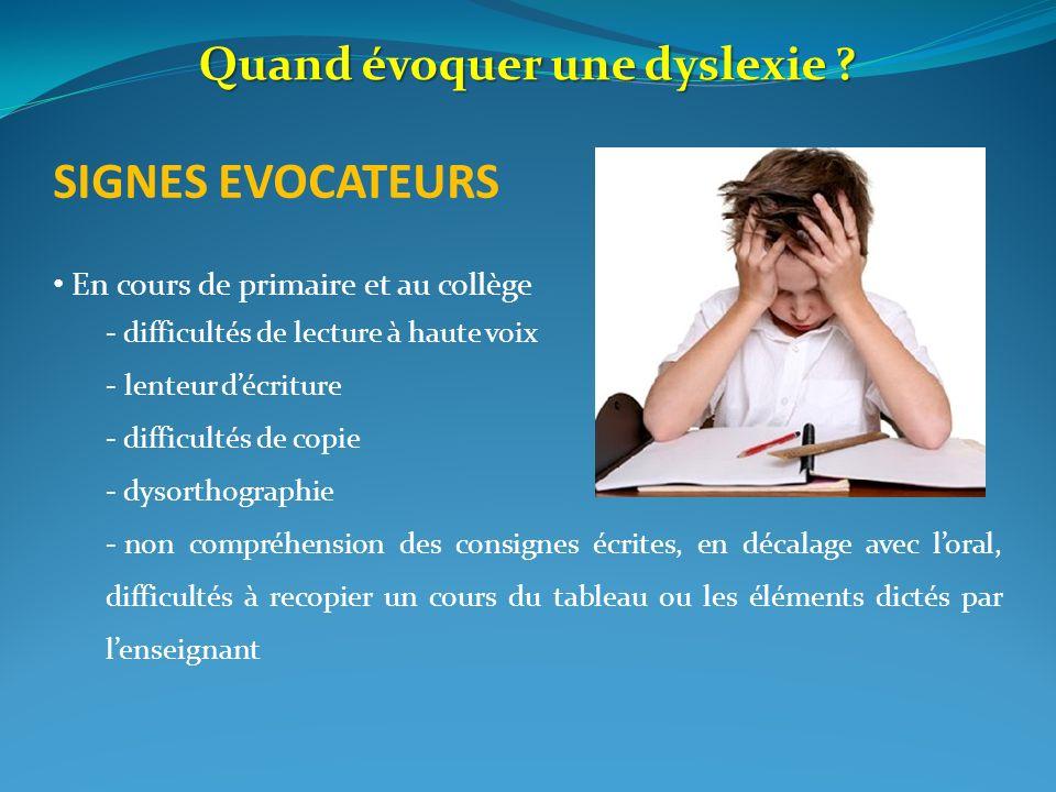 Quand évoquer une dyslexie