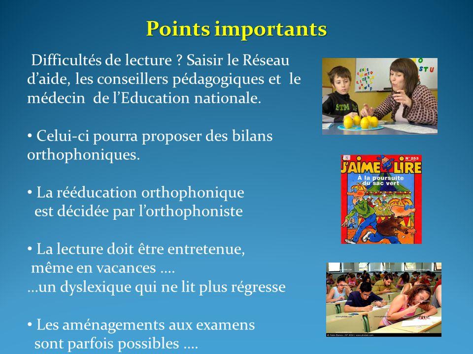 Points importants Difficultés de lecture Saisir le Réseau