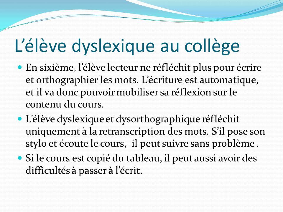 L'élève dyslexique au collège