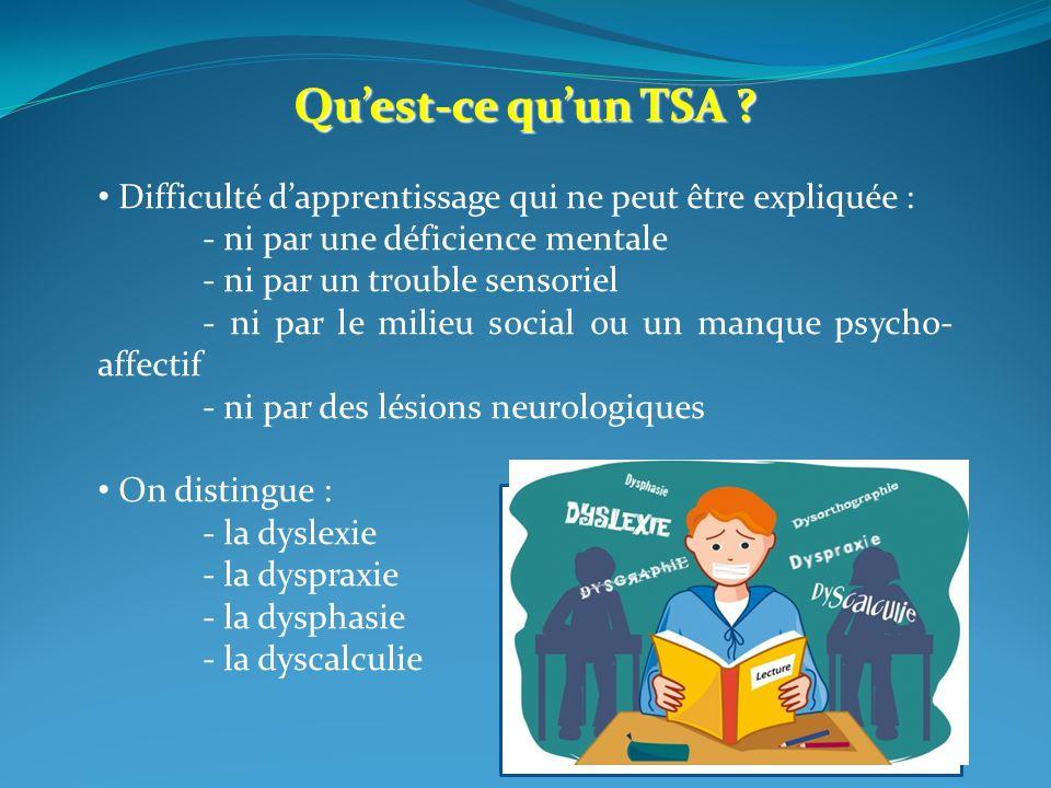 Qu'est-ce qu'un TSA Difficulté d'apprentissage qui ne peut être expliquée : - ni par une déficience mentale.