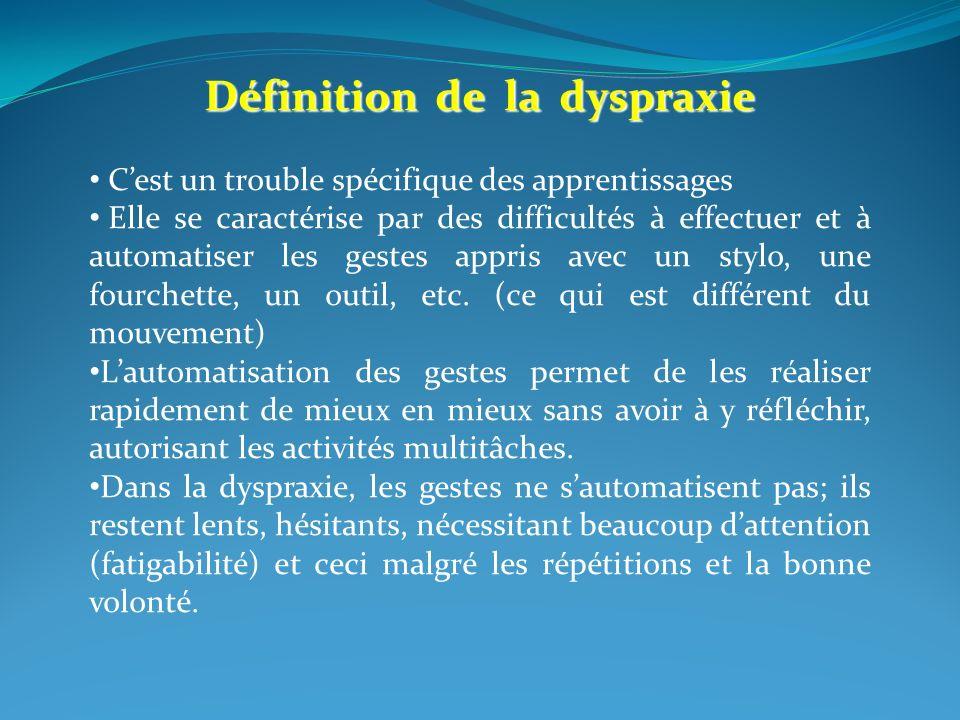 Définition de la dyspraxie