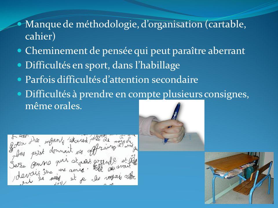 Manque de méthodologie, d'organisation (cartable, cahier)