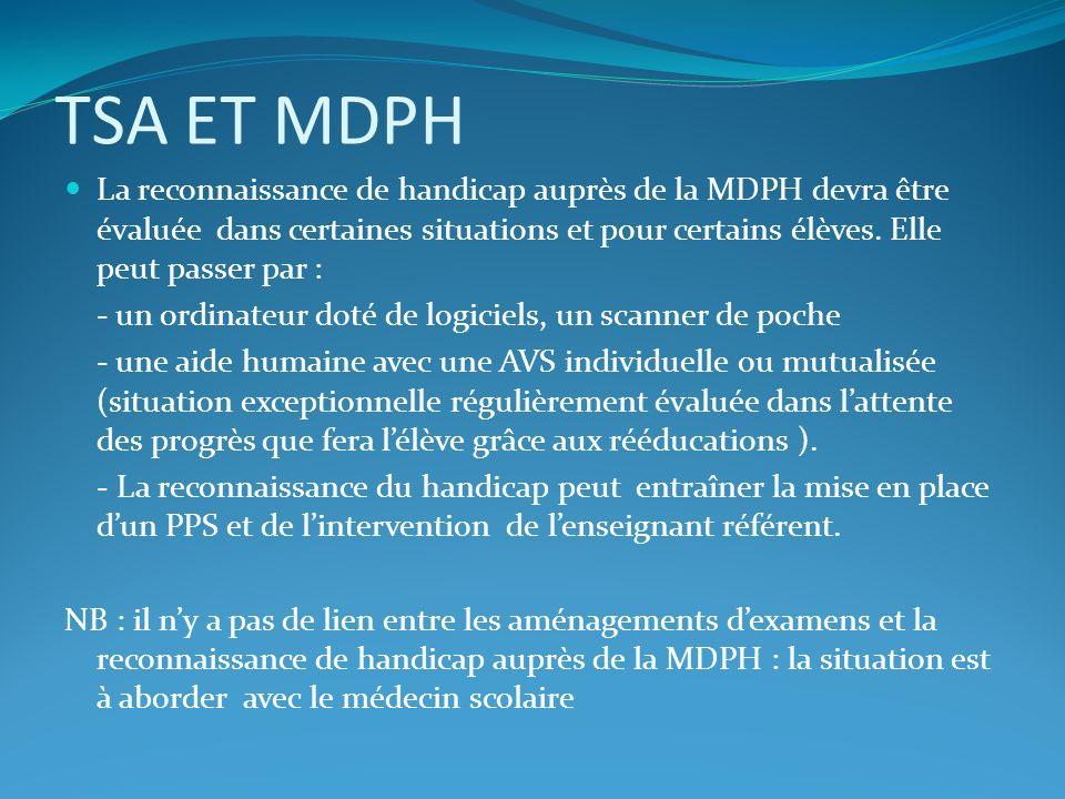 TSA ET MDPH