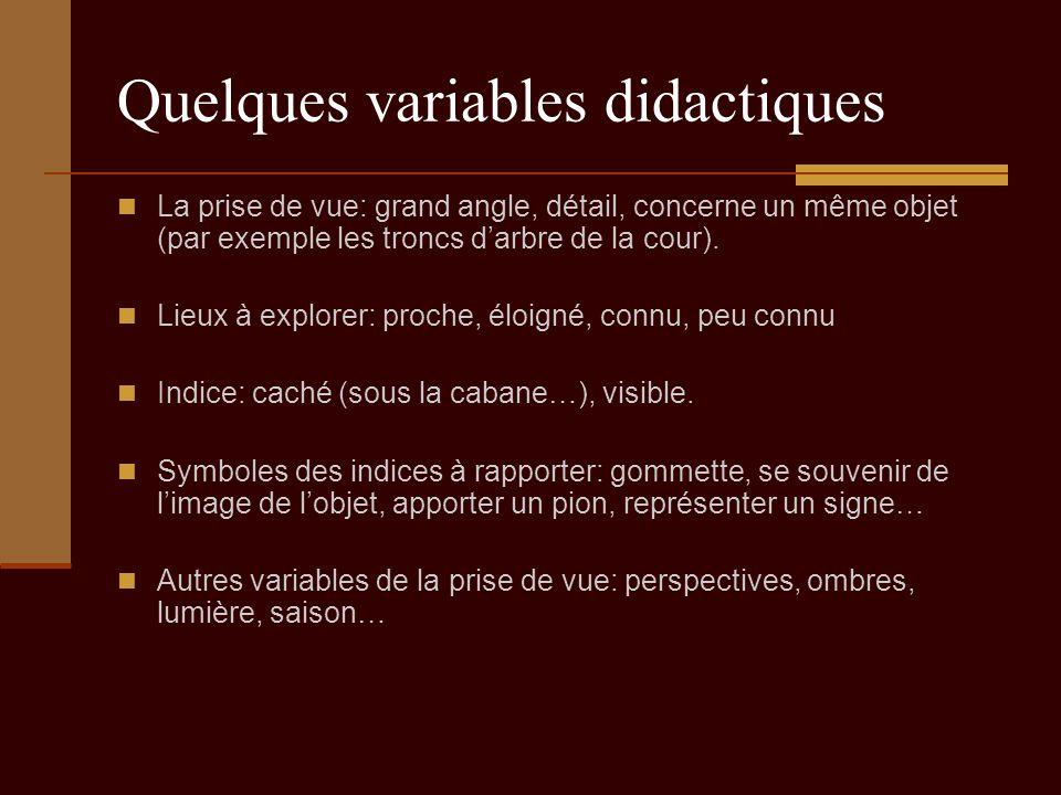 Quelques variables didactiques