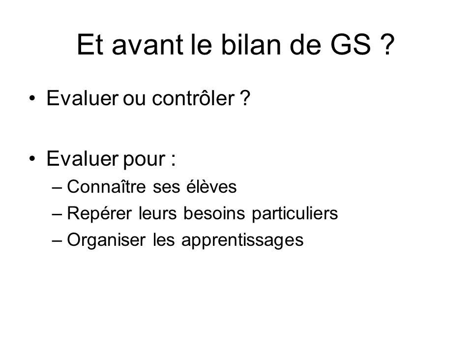 Et avant le bilan de GS Evaluer ou contrôler Evaluer pour :