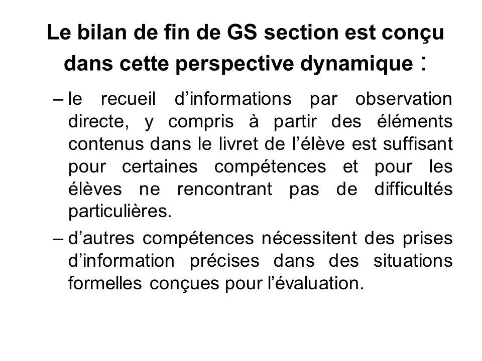 Le bilan de fin de GS section est conçu dans cette perspective dynamique :