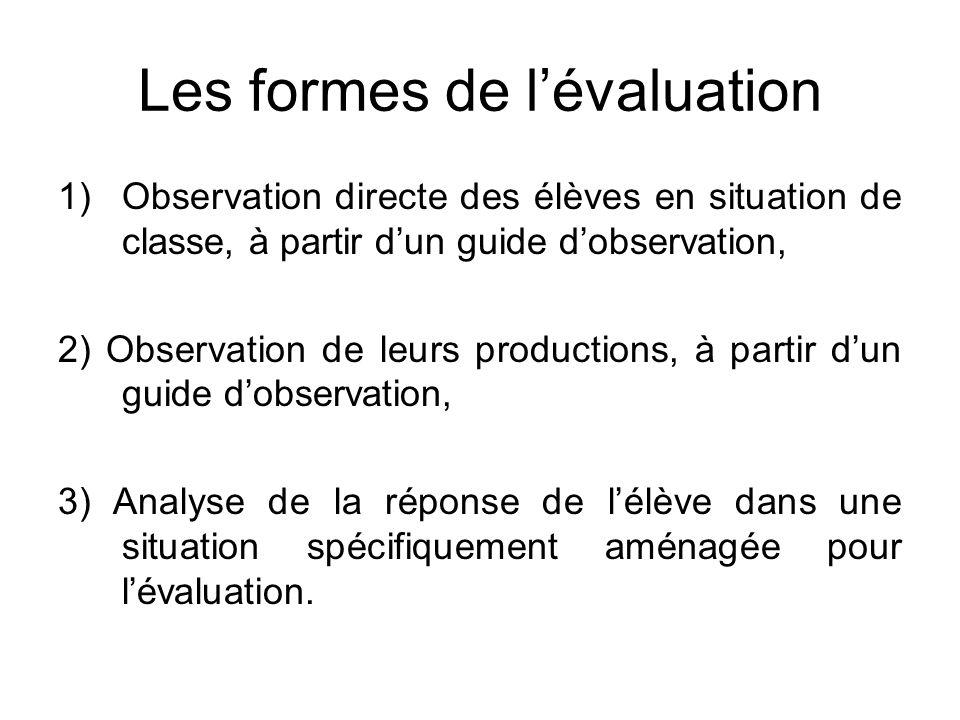 Les formes de l'évaluation