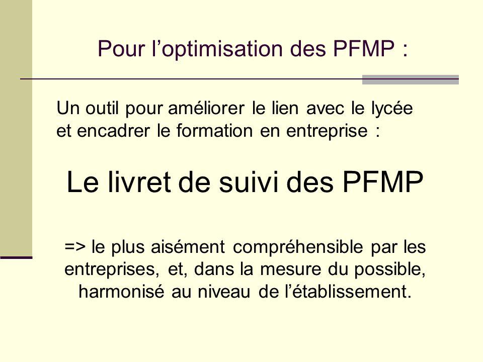 Le livret de suivi des PFMP