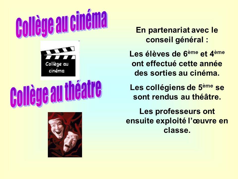 Collège au cinéma Collège au théatre