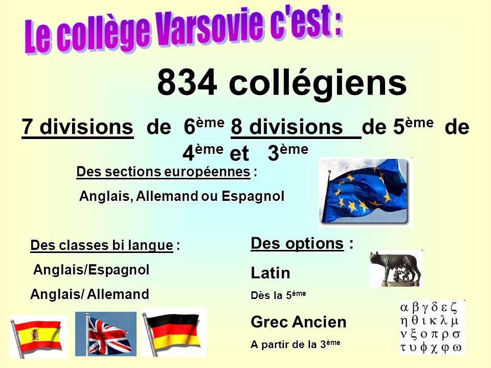 7 divisions de 6ème 8 divisions de 5ème de 4ème et 3ème