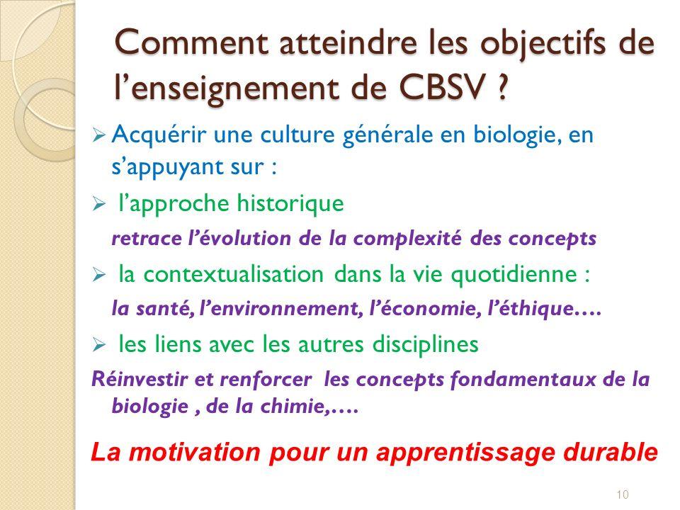 Comment atteindre les objectifs de l'enseignement de CBSV