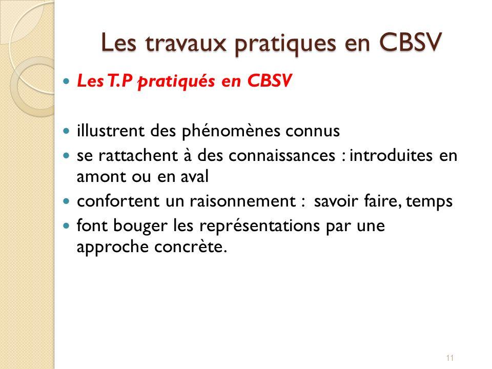 Les travaux pratiques en CBSV
