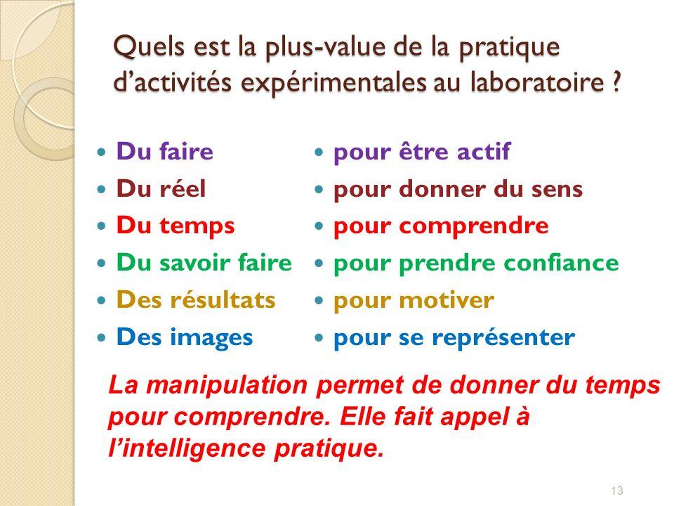 Quels est la plus-value de la pratique d'activités expérimentales au laboratoire