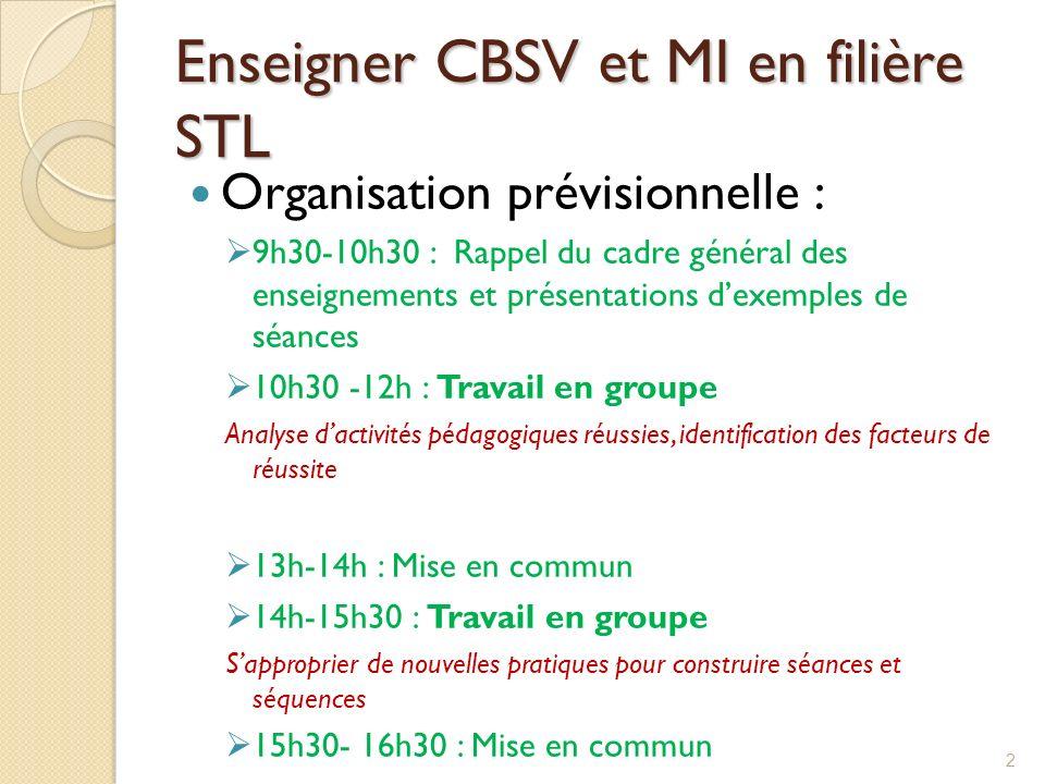 Enseigner CBSV et MI en filière STL