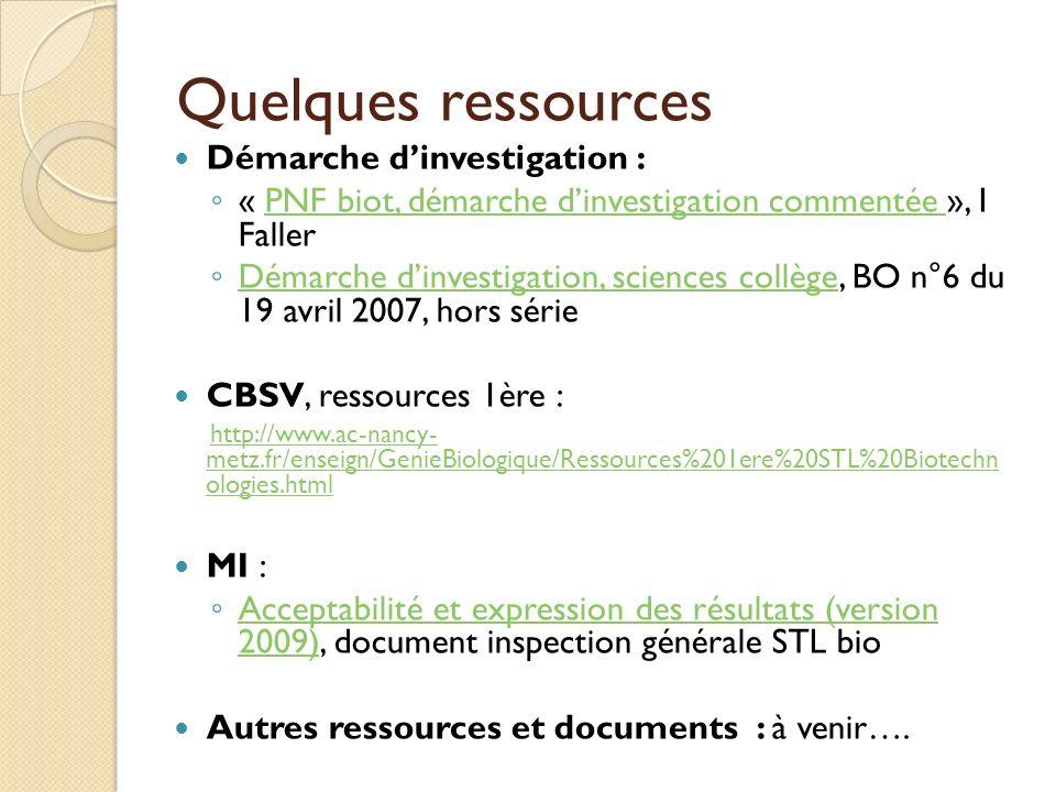 Quelques ressources Démarche d'investigation :