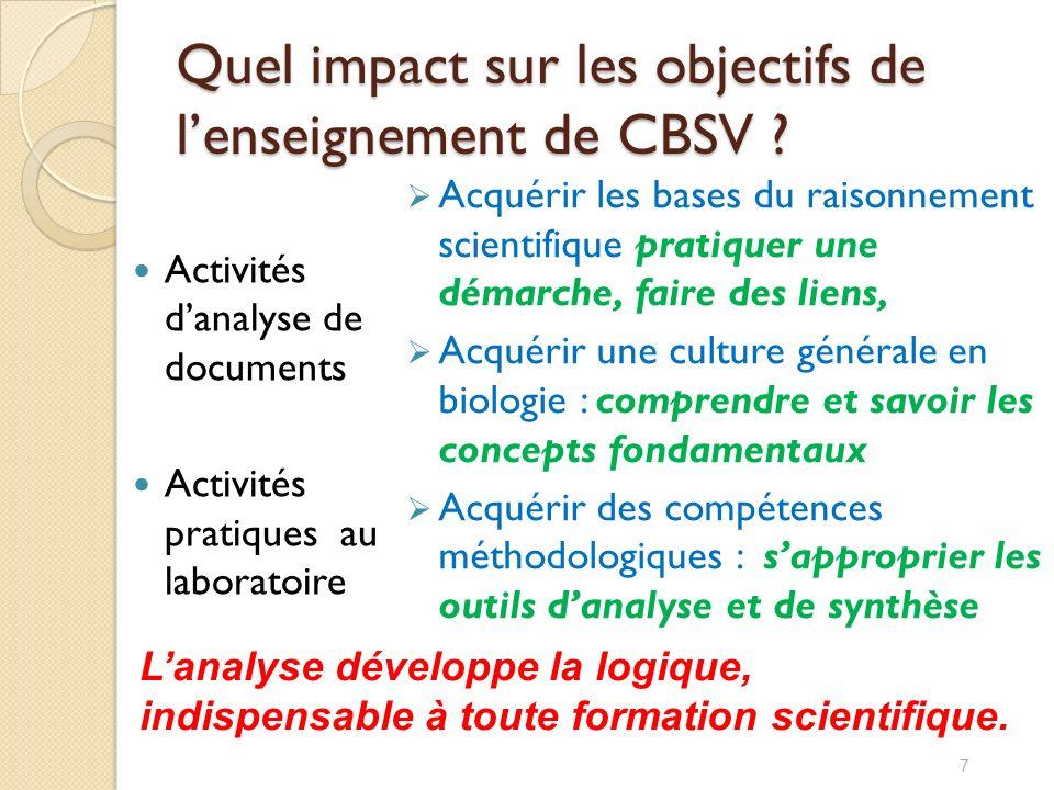 Quel impact sur les objectifs de l'enseignement de CBSV
