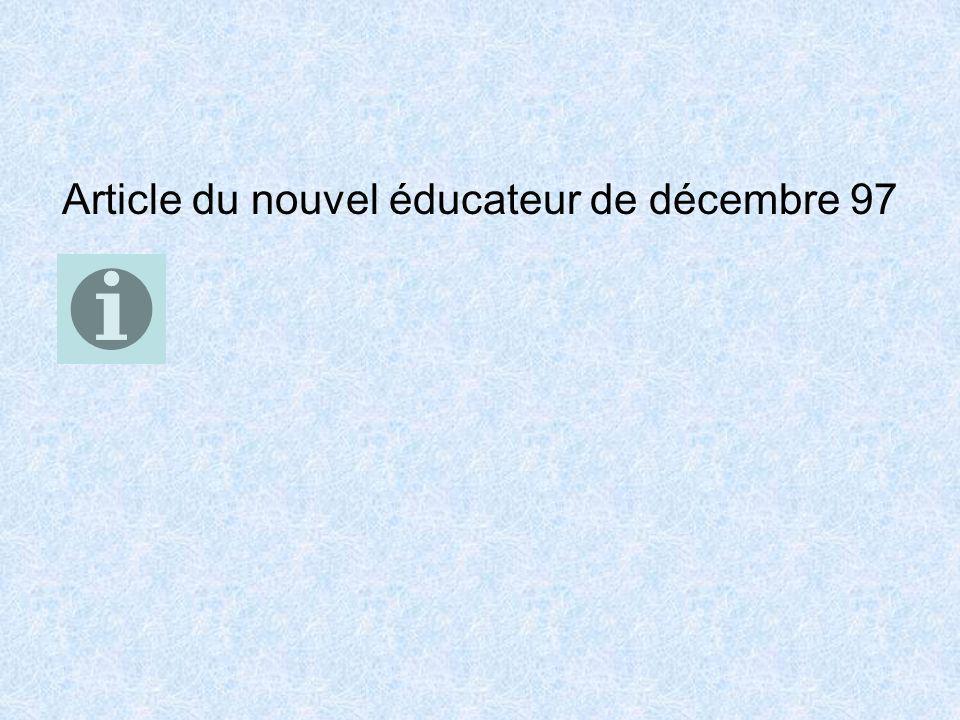 Article du nouvel éducateur de décembre 97