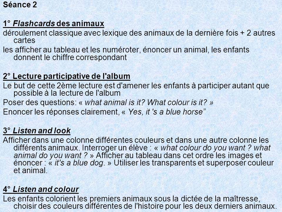 Séance 2 1° Flashcards des animaux. déroulement classique avec lexique des animaux de la dernière fois + 2 autres cartes.