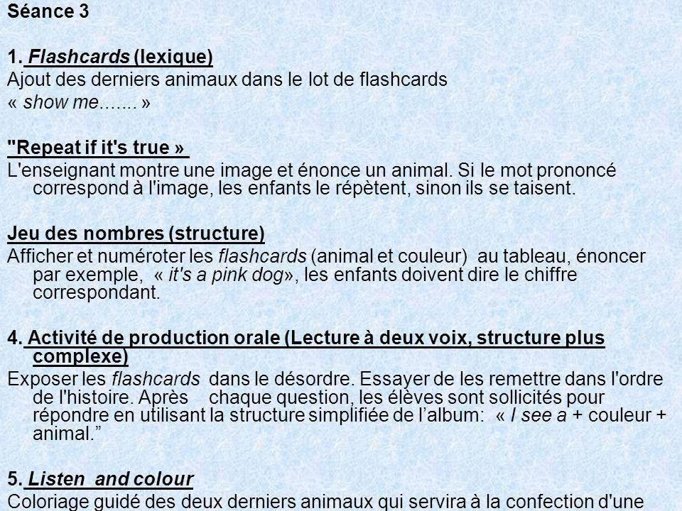 Séance 3 1. Flashcards (lexique) Ajout des derniers animaux dans le lot de flashcards. « show me....... »