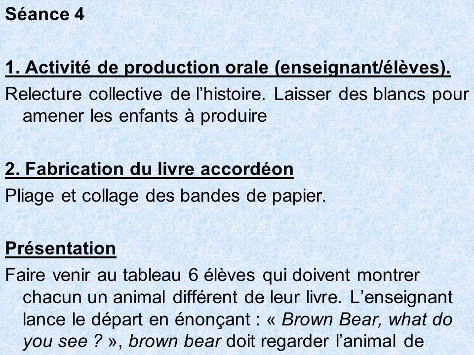 Séance 4 1. Activité de production orale (enseignant/élèves).