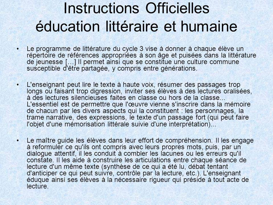 Instructions Officielles éducation littéraire et humaine